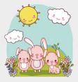 cute animals adorable bunnies in grass vector image vector image