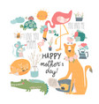 cute cartoon animals mothers with their cubs vector image vector image