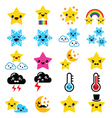 Cute weather kawaii icons -star rainbow moon