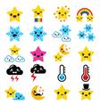 Cute weather kawaii icons -star rainbow moon vector image