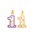 eleven years anniversary 11 number shaped vector image vector image