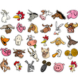 farm animals cartoon heads big set vector image vector image