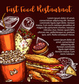 fast food restaurant menu cover with lunch dish vector image vector image