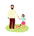 father walking with little daughter vector image vector image