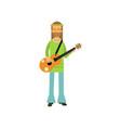 flat cartoon man hippie standing with guitar vector image vector image