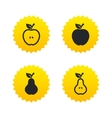 Fruits with leaf icons Apple and Pear vector image vector image