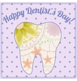 Happy dentist day card with tooth silhouette vector image vector image