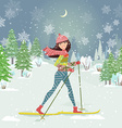 happy girl on cross country skiing in winter vector image vector image