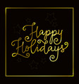 happy holidays in golden on brown with frame vector image