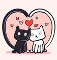 Happy valentines day with couple cats black and