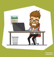 hipster man in an office suit working on a laptop vector image