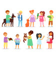kids children with pet girls and boys vector image