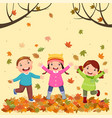 kids playing outdoors in autumn vector image vector image