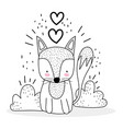 little fox sitting with love hearts cute animals vector image vector image