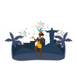 man with maracas celebrating brazil carnival vector image vector image
