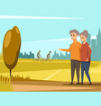 mature couple walking together vector image vector image