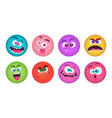 monsters faces cartoon monster avatars set vector image