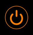 on off switch sign orange icon on black vector image vector image
