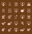 online banking color icons on brown background vector image