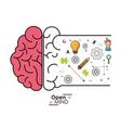 open mind brain intelligence genius idea vector image