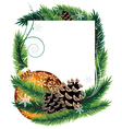 Orange Christmas tree decoration with pine cones vector image vector image