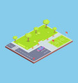 park parking lot and sports field vector image