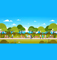 people in park relaxing in urban nature over city vector image