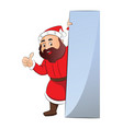 portrait of green santa claus with blank vector image