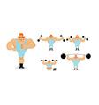 Retro athlete set poses Ancient bodybuilder with vector image vector image