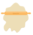 Roll out dough and wooden rolling pin plunger bake vector image