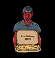 satan holding open cardboard box pizza vector image