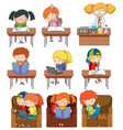 set of children studying vector image vector image
