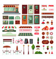 shop facade and exterior elements set vector image vector image