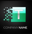 silver letter t logo symbol in the green square vector image