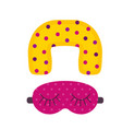 sleeping mask and travel neck pillow vector image