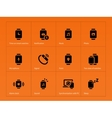 Smart gadget and watch icons on orange background vector image