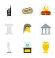 Stay in museum icons set flat style vector image vector image