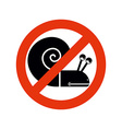 Stop snail Forbidden insect Stop slow motion on vector image
