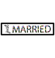 template license plate with just married vector image vector image
