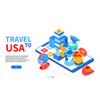 travel to usa - colorful isometric web banner vector image