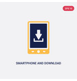 two color smartphone and download arrow icon from vector image vector image