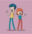 two happy kids vector image vector image