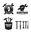 Handyman labels badges emblems and design elements vector image