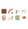 pub interior and equipment icons in set vector image