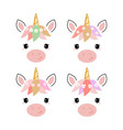 adorable unicorn heads isolated on white vector image vector image