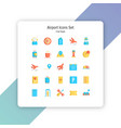 airport icon set flat style vector image