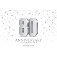anniversary 80 silver 3d numbers vector image vector image