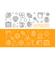 apiary 2 banners set in thin line style vector image vector image