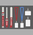 badge mockup red cards lanyard bracelets for id vector image