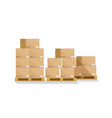 box on pallet in warehouse carton parcel for vector image